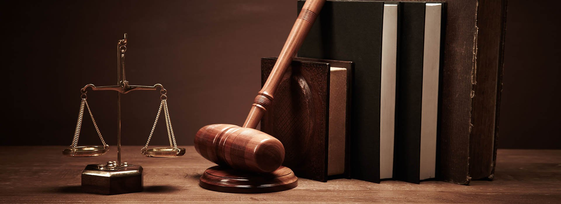 Gavel with law books