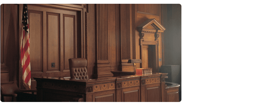 Courtroom with an american flag