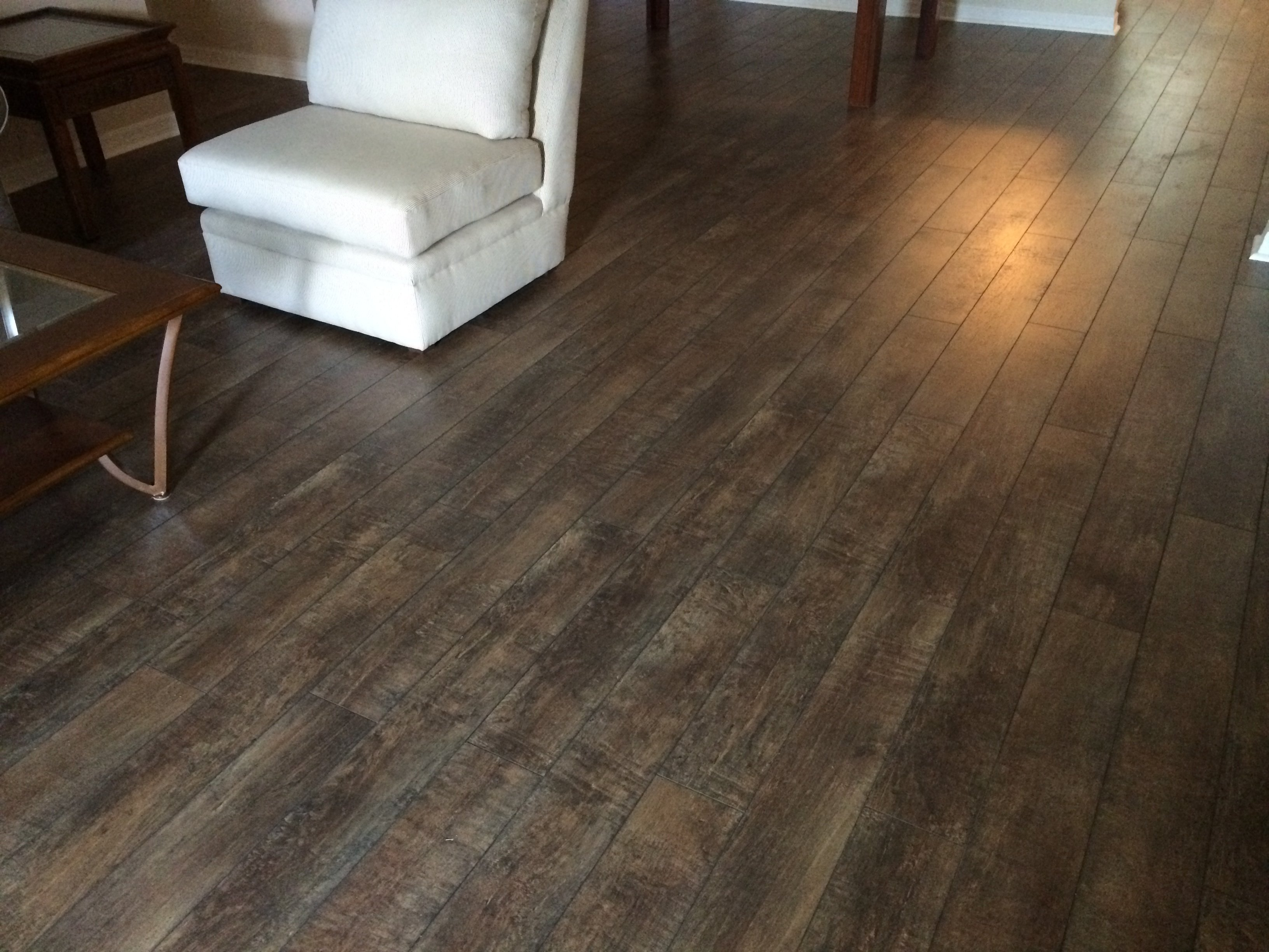 reclaimed hardwood flooring, re-stained and surfaced