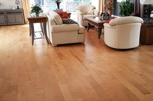 Hardwood Floor with off-white living room set and maplewood side and end tables