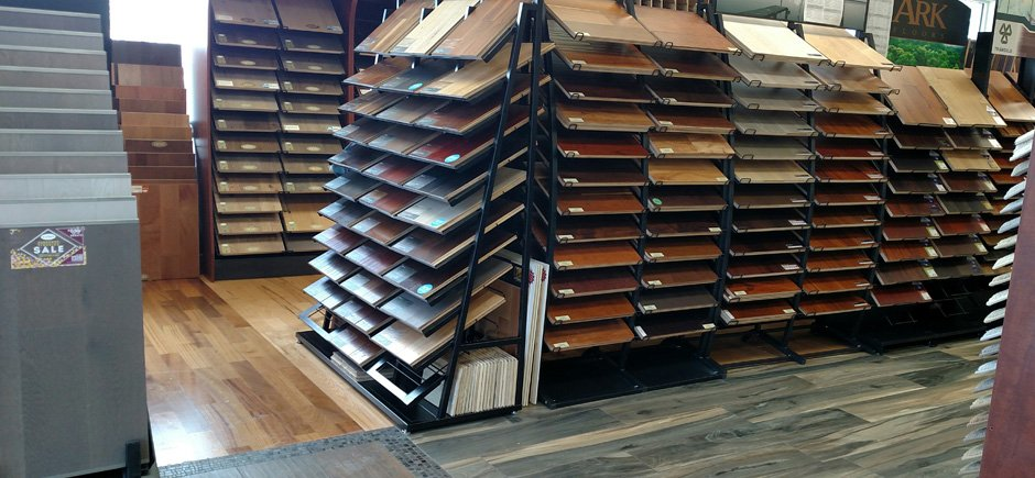 Interior of show room, panel display with a variety of laminate samples