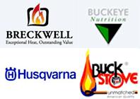 Breckwell, Buckeye Nutrition, Husqvarna and Buck Stove Logo
