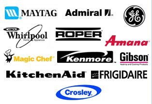 Maytag, Whirlpool, Kenmore, Kitchen Aid, Frigidaire, Roper, GE, Amana, Gibson, Crosley, Magic Chef, Admiral