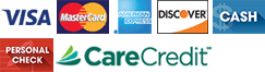 Visa, MasterCard, American Express, Discover, Cash, Personal Check, CareCredit