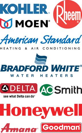 Kohler | Moen | American Standard | Rheem | Bradford White | A.O. Smith | Amana | Goodman | Honeywell | Delta