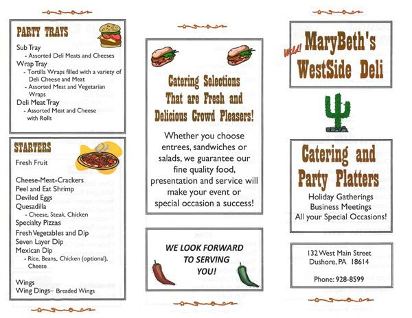 MaryBeth's WestSide Deli Catering Menu 1