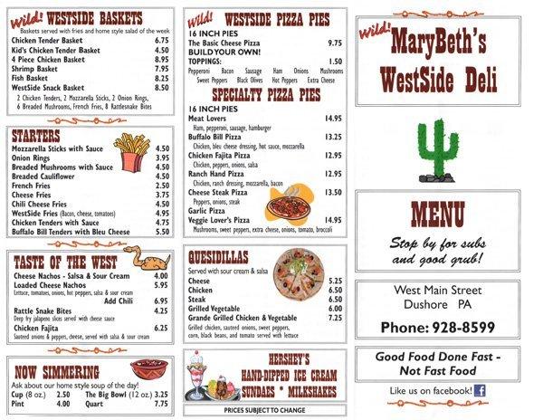 MaryBeth's WestSide Deli Menu 1