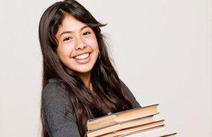 Girl donating her books