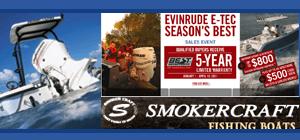 Carl's Boats And Motors Inc. VI Johnson, Smoker Craft and Evinrude E-Tec Logos