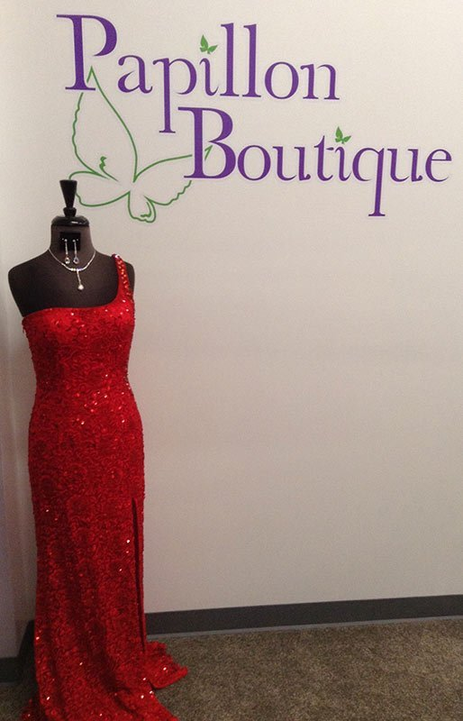 Single strap red gown