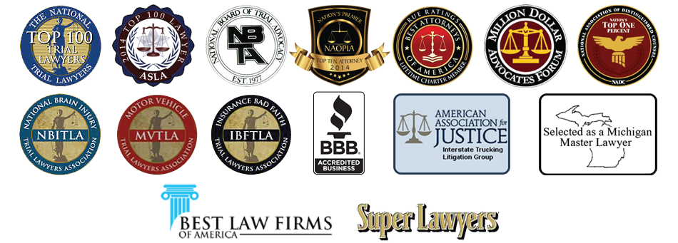 Board Certified Civil Trial Specialist, Super Lawyers, National Board of Civil Trial Advocates, Top 100 American Trial Lawyers Association, Million Dollar Advocate Forum, Top 100 Lawyer ASLA, Nations Premiere Top 10 Attorney, Lifetime Charter Member Best