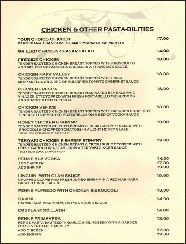 Fireside Steak Pub menu