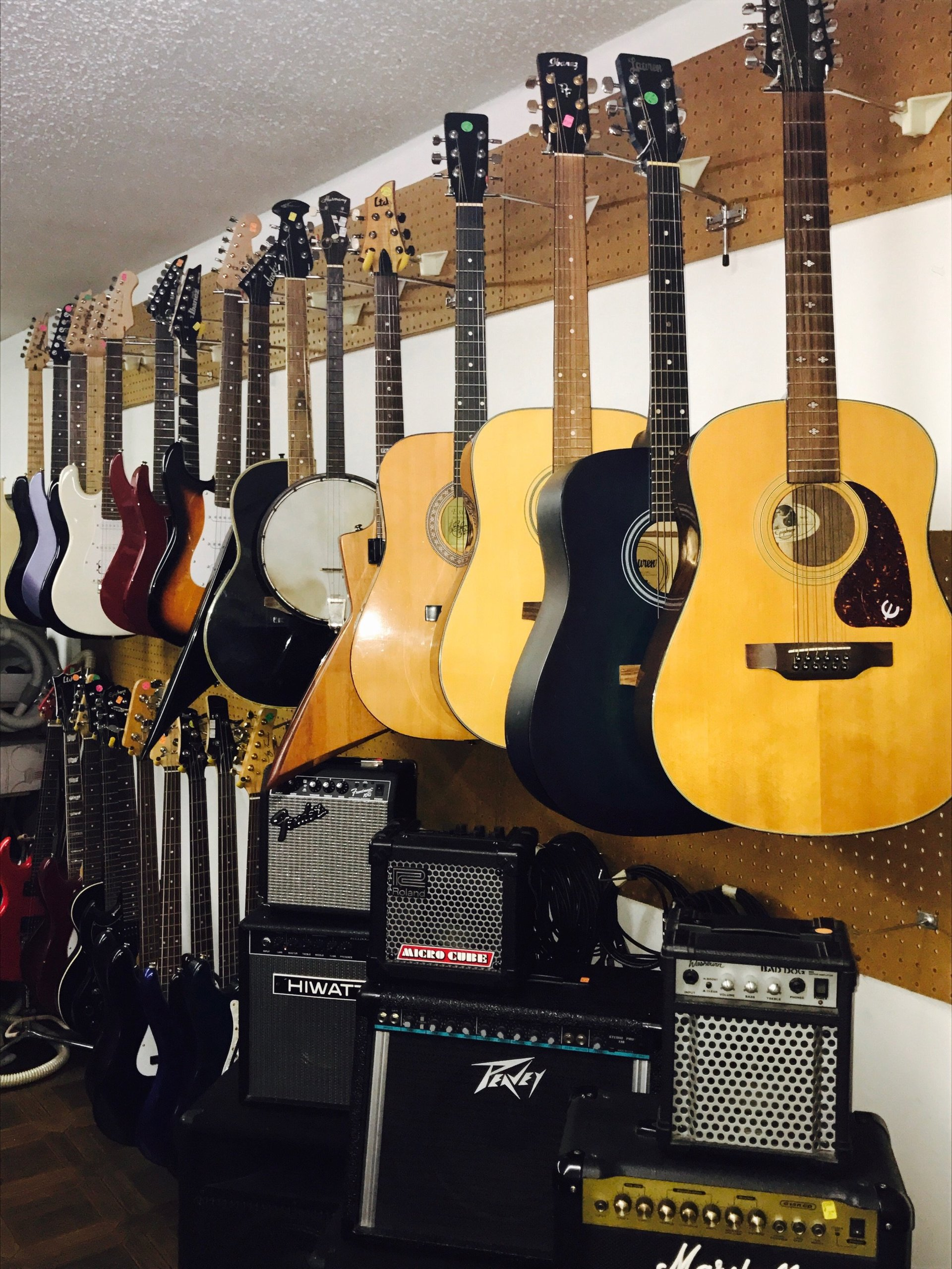 Guitars and amplifiers