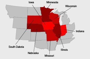 Iowa Express Delivery Service Inc. Service area map