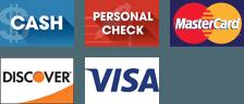 Cash, Personal Check, MasterCard, Discover, Visa