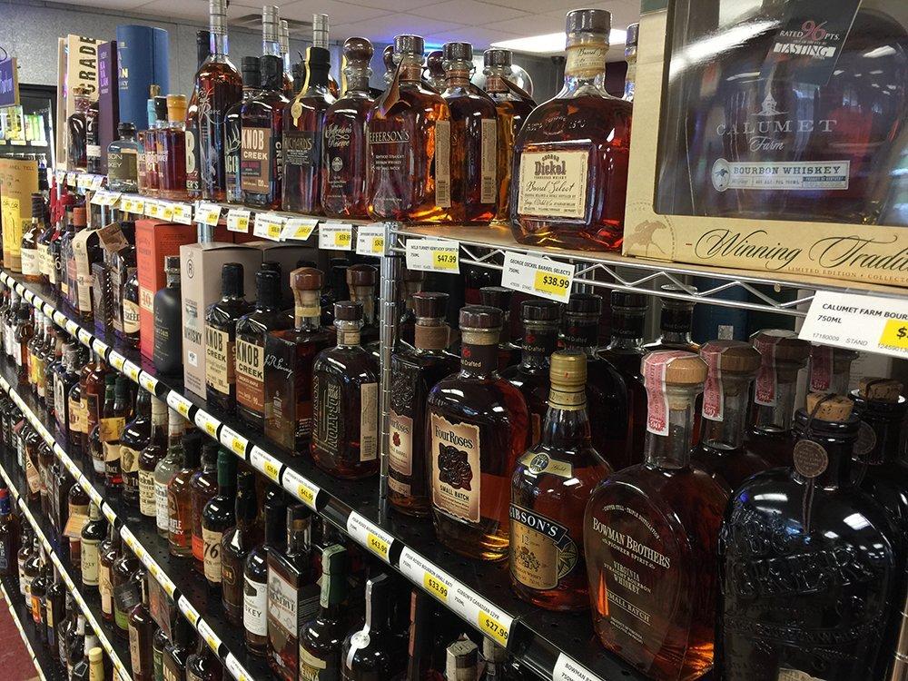 bottles of whiskey or bourbon