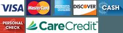 Visa, MasterCard, AmEx, Discover, Cash, Check, CareCredit