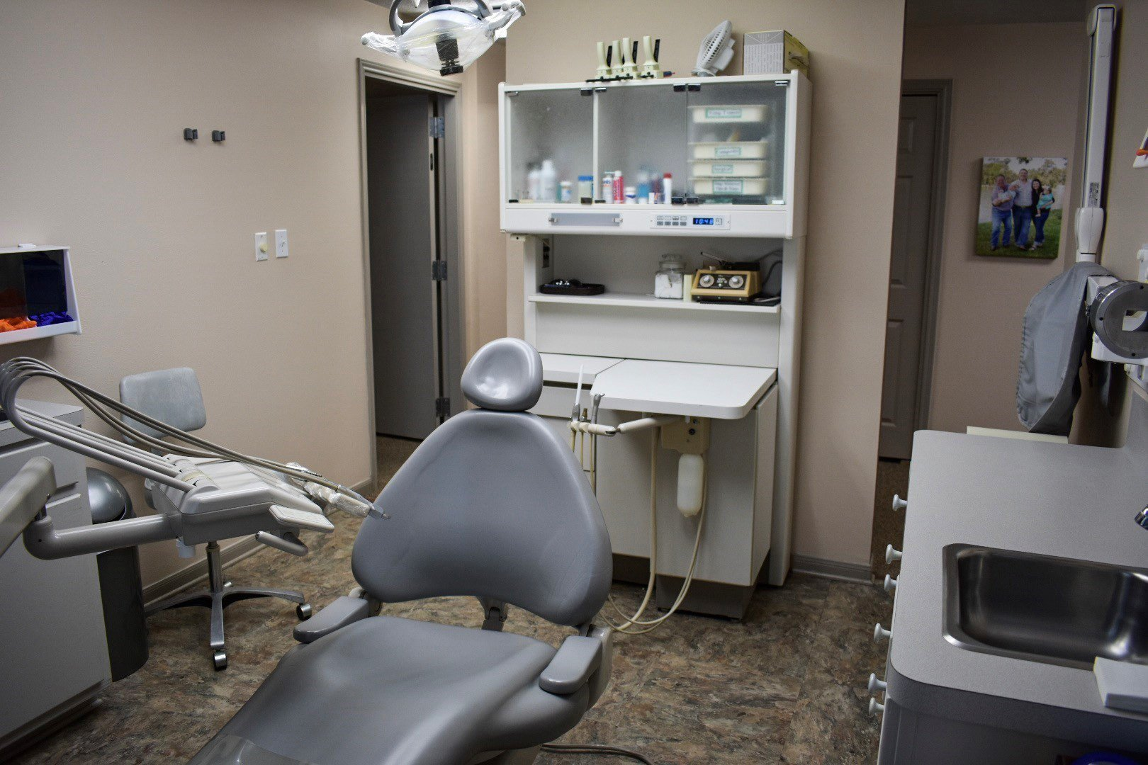 inside the dental clinic with tools and chair