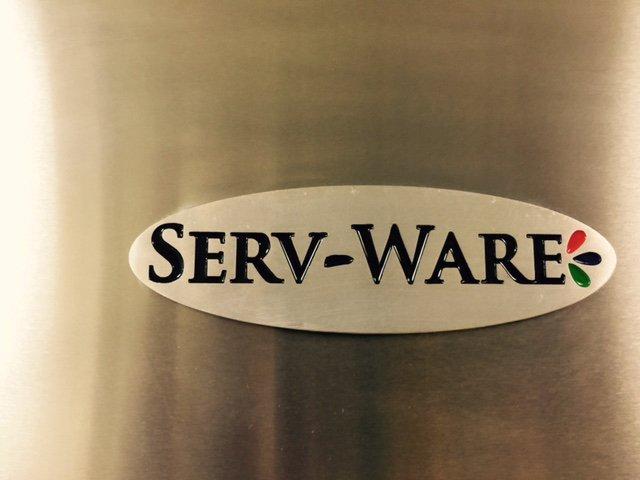 Serv-Ware logo on refrigerator door