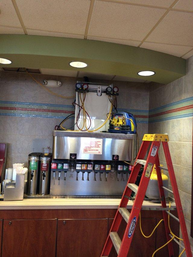 Ice maker and soda dispensing unit - fast food restaurant