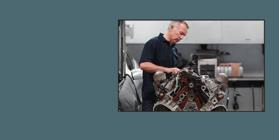 Mechanic working on transmission