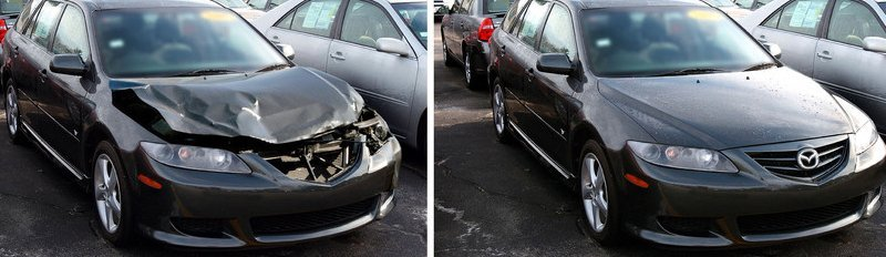 Collision repair before and after