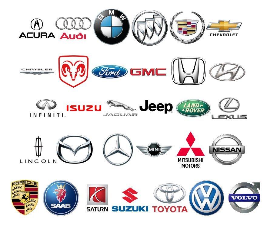 Acura, Audi, BMW, Buick, Cadillac, Chevrolet, Chrysler, Ram, Ford, GMC, Honda, Hyundai, Infiniti Isuzu, Jaguar, Jeep, Land Rover, Lexus, Lincoln, Mazda, Mercedes Benz, Mini Cooper, Mitsubishi, Nissan, Porsche, Saab, Saturn, Suzuki, Toyota, Volkswagen, Volvo