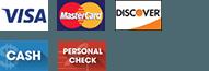 Visa, MasterCard, Discover, Cash, Personal Check
