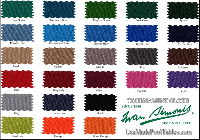 Cloth Charts - Pool table felt colors chart