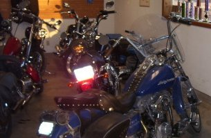 Motorcycles in a garage