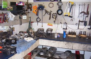 Tools and parts of motorcycle