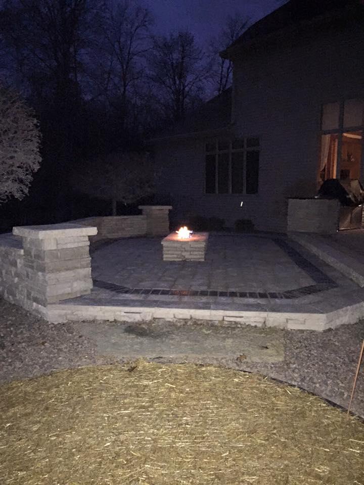 Brickwork with firepit
