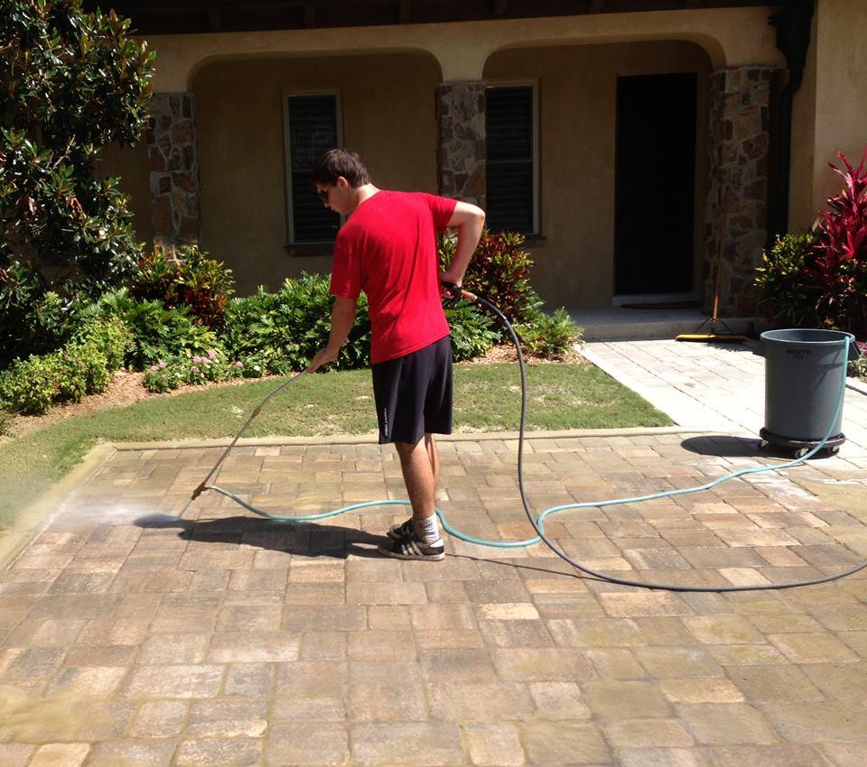 Power washing pavers