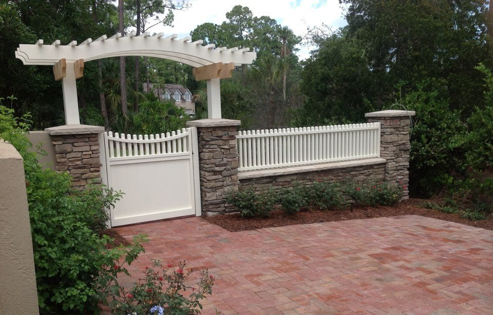 Stone all and paver walkway