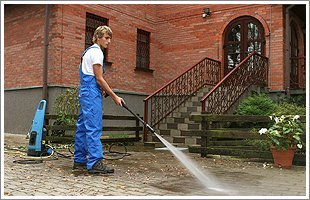 Patios being power washed