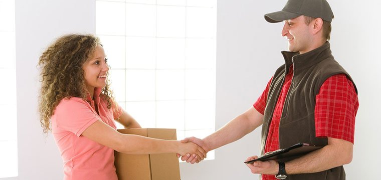 Woman shaking hand to deliveryman