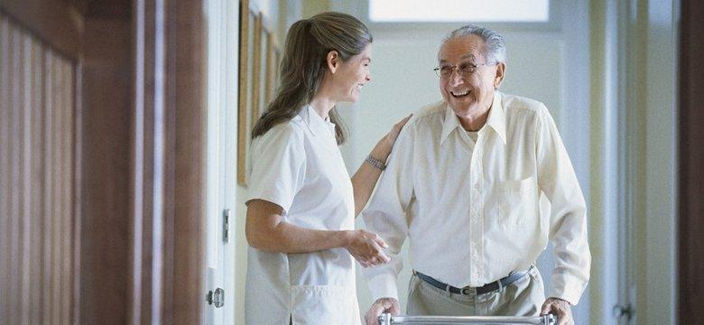 Senior citizen and caregiver