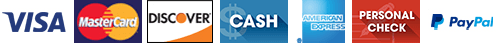 Visa | MasterCard | Discover | Cash | American Express | Personal Check | PayPal