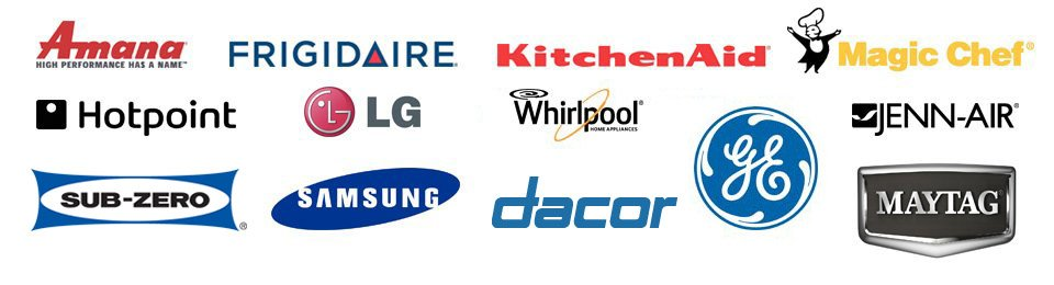 Amana, Frigidaire, Kitchen Aid, Magic Chef, Hotpoint, LG, Speed Queen, Jenn-Air, Roper, Samsung, Whirlpool, GE, Maytag