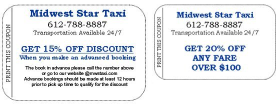Coupons - Midwest Star Taxi - Twin Cities, MN