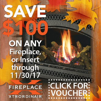 Save $100 On any Fireplace, or insert through 11/30/17