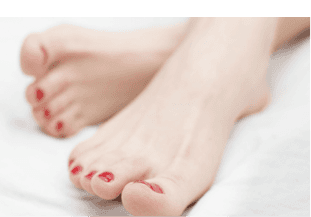Feet with red nail polish