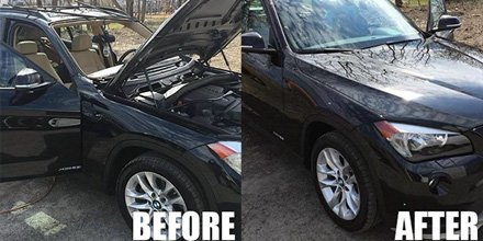 Before and after Windshield