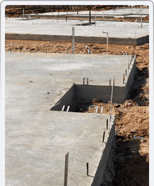 New Property Home Foundation Construction with conrete slab