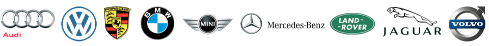 Audi | Volkswagen | Porsche | BMW | Mini Cooper | Mercedes-Benz | Land Rover | Jaguar | Volvo