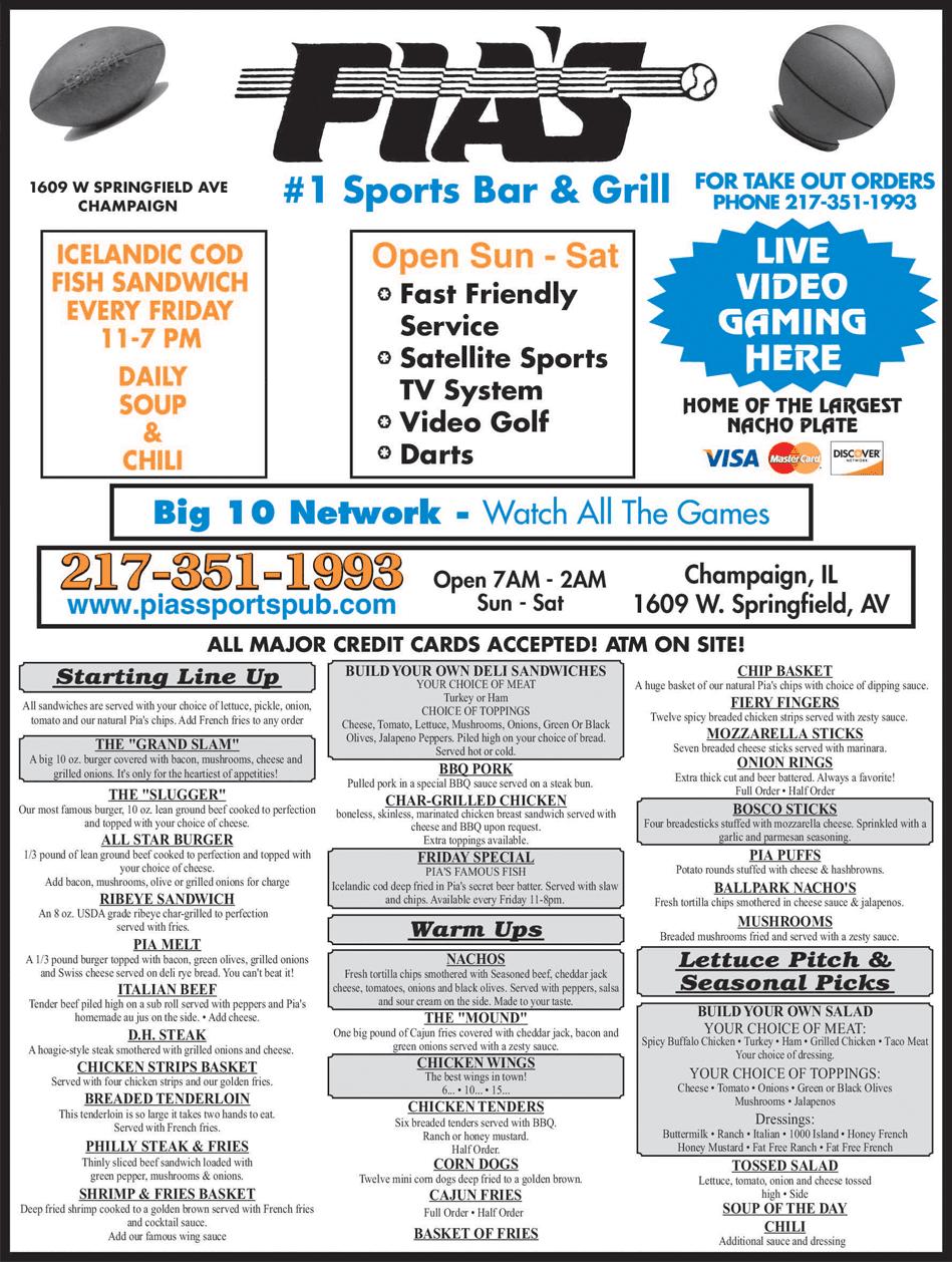 Pia's Sports Bar & Grill Menu