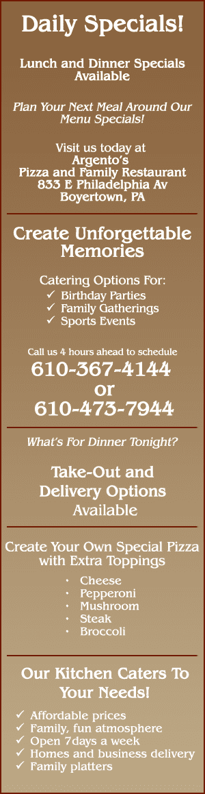 Catering Services - Boyertown, PA - Argento's Pizza & Family Restaurant