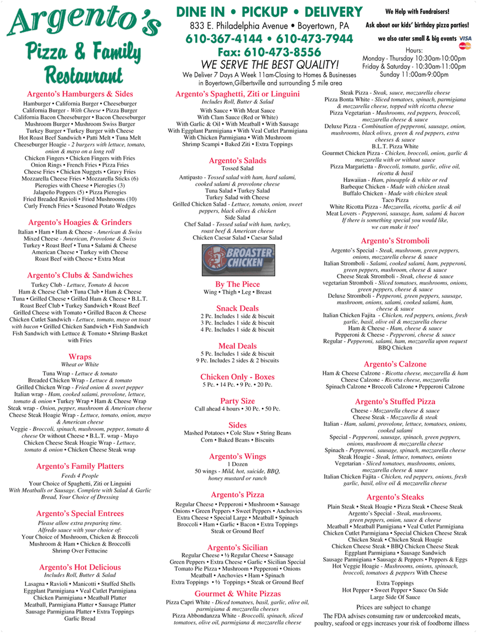Menu - Argento's Pizza & Family Restaurant - Boyertown, PA
