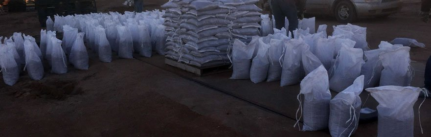 Unfilled sandbags