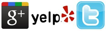 Google plus, Yelp, and Twitter